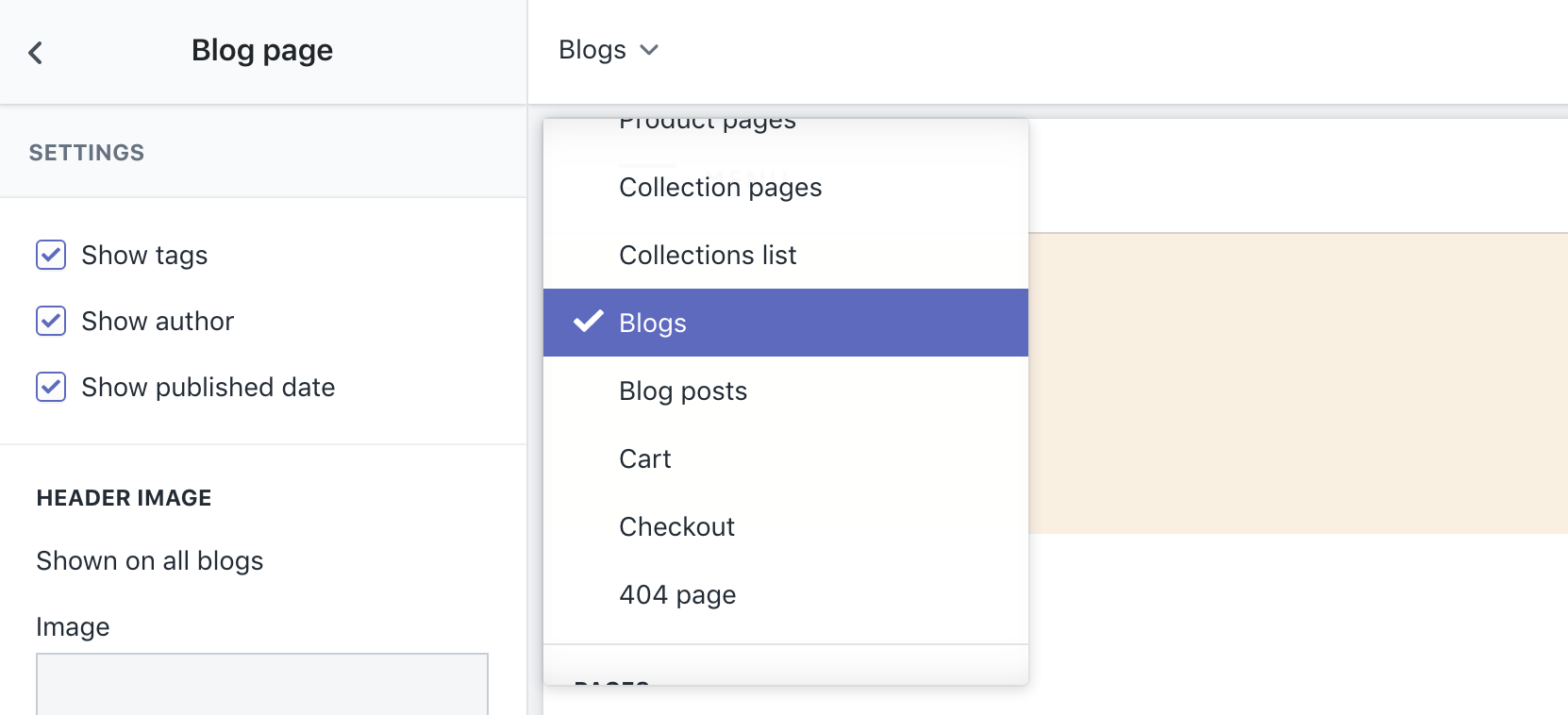 Example of how to view sections for pages other than the homepage
